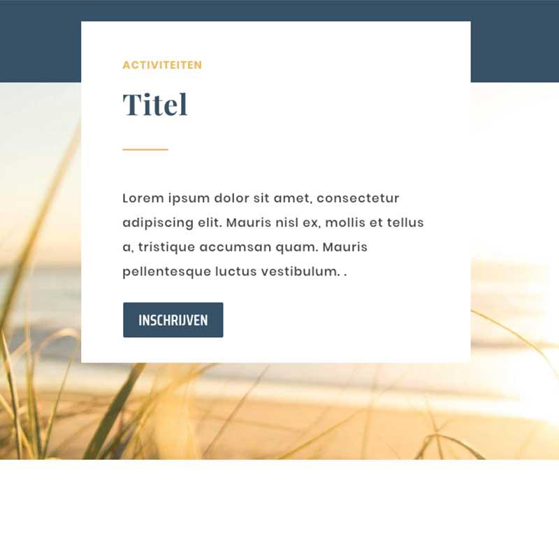 Onepage voorbeeld 10 - vlak met tekst en achtergrond foto
