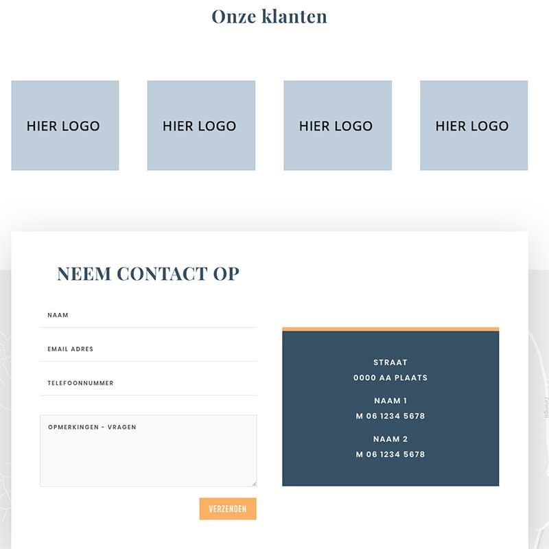 Onepage voorbeeld 10 - Logo's van klanten en formulier